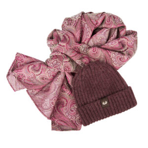 KEYLER Winter-Set Damen Beere (Mütze + Paisley-Schal) im Keylershop